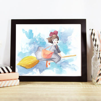 Kiki's Delivery Service Kiki Flying on Broomstick Studio Ghibli Art Print - Multiple Sizes Available!