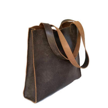 Rustic brown leather tote bag / distressed shopper  purse / casual everyday travel shoulder handbag / rustic totes/ handmade jenny