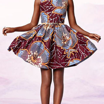 The Adina African print dress - 100% cotton wax (with or without sleeves option available)