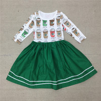 2016 New Baby Girls Winter Dress Girl Autumn Cotton Dress Girl's Fashion Princess Dress Kids Coffee Cups Print Casual Dress 20D