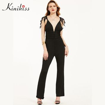 Women rompers jumpsuit spring dark blue v neck button zippers wide legs fashion straight female jumpsuits