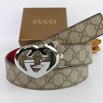 GUCCI Woman Men Fashion Smooth Buckle Belt Leather Belt-121