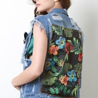 Tropical Hibiscus Distress Denim Vest