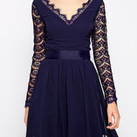 Blue V-Neck Long Sleeve Lace A-Line Dress