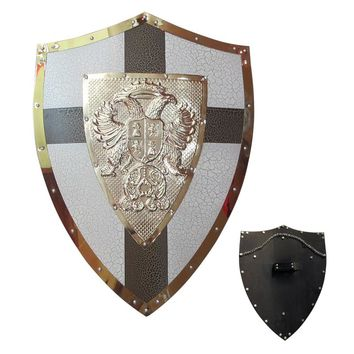 Medieval Knights Shield Brown Cross Steel Material Eagle Crown Cosplay Renaissance
