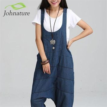 DKLW8 Johnature 2017 New Denim Jumpsuits Pocket Rompers Stripped Loose Plus Size  Women Fashion Casual Denim Overalls Harlan Jumpsuits
