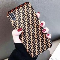 FENDI Tide brand couple suede iPhone XS Max mobile phone case cover