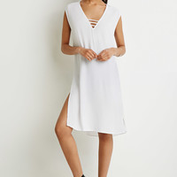 Ladder V-Neck Shift Dress