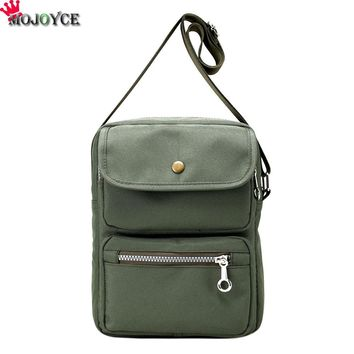 Mini Canvas Multifunctiona Shoulder Bag Portable Dual Zipper Crossbody Bag Purse Phone Bag