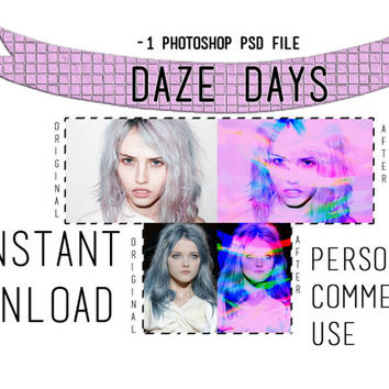 "Photoshop PSD Coloring File Instant Download Photo Effects Actions ""Daze Days"""