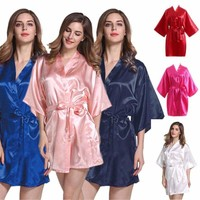 Women Plain Silk Satin Robe