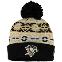 Men's Pittsburgh Penguins New Era Black Retro Chill Cuffed Knit Hat With Pom