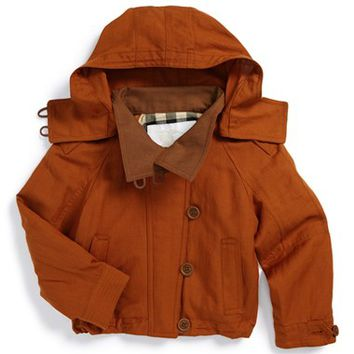 Girl's Burberry 'Mini Oakdale' Silk & Linen Hooded Jacket