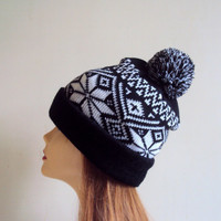 Chunky Pom Pom Hat Knit Beanie Hand Knit Winter Hat Women Men Teen to Adult Snowflake Hat Fashion Accessories Ready to Ship! Trending now!