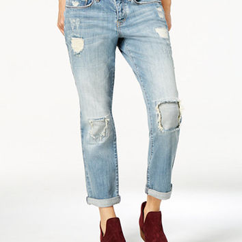 American Rag Ripped Patched Parkridge Wash Girlfriend Jeans, Only at Macy's - Juniors Jeans - Macy's