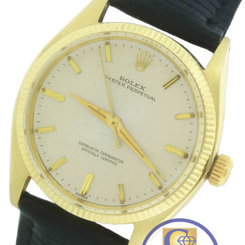 Rolex Oyster Perpetual 1005 Silver 34mm 14K Yellow Gold Leather Strap Watch