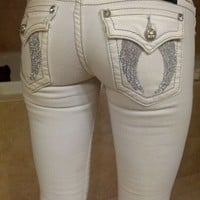Miss Me white angel wing jeans 25