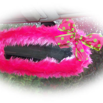 Hot barbie pink cute faux fur furry fluffy fuzzy rear view interior car mirror cover with lime and pink spotty bow girly girl cerise bright