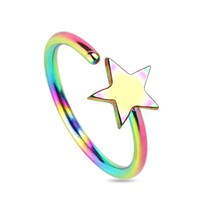 BodyJ4You Nose Hoop 20 Gauge Stainless Steel Rainbow Star Body Piercing Jewelry