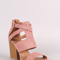 Qupid Gladiator Caged Open Toe Chunky Heel