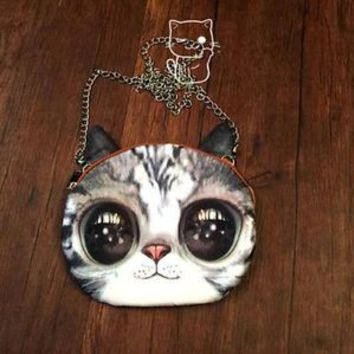 Cute 3D Cat girl's Small Messenger Shoulder Bag Satchel Purese Totes Novelty New