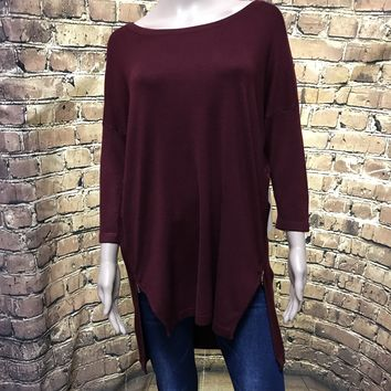wide neck tunic sweater with zipper sides