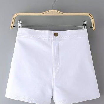 Button High Waist Denim Shorts