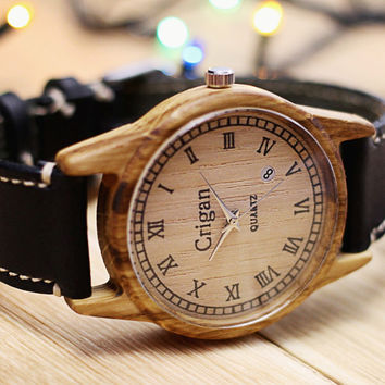 Wooden watch, mens wristwatch, oak