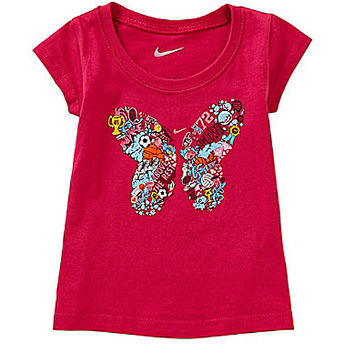 Nike 12-24 Months Butterfly Short-Sleeve Tee - Watermelon Red