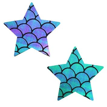 Neva Nude Mischievous Mermaid Iridescent Holographic Star Pasties