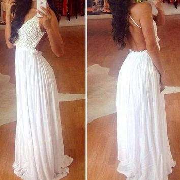 White Backless Wide Hem Lace Splicing Maxi Dress