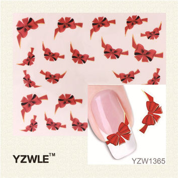 1 Sheet Fancy Red Butterfly Tie Sweets Casual Nail Decals Stickers Water Mark Beauty Decorations Foils French Tips Tool