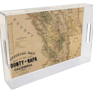Napa County Antique Map Lucite Tray