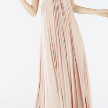 Pink BCBG Nailah Beaded Neckline Pleated Gown