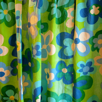 Vintage Modern Curtain Panels MOD FLOWERS 1960s Easy Hang