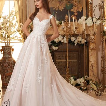 099c571e50f Blu by Mori Lee 5468 Tank Lace Tulle A-Line Wedding Dress