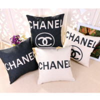 chanel Heavy weight cotton flax pillow case with core cushion pillow back car sofa pillowcase