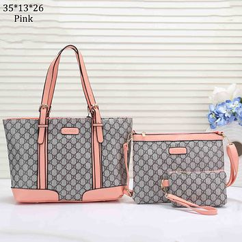 GUCCI 2018 new classic double G canvas leather shoulder portable Messenger bag three-piece pink