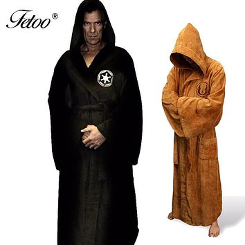 Flannel Robe Male With Hooded Star Wars Dressing Gown Jedi Empire Long Thick Men's Bathrobe Nightgowns Mens Bath Robe Winter P30