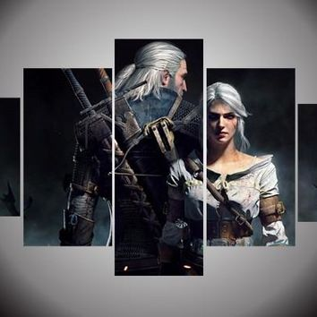 2017 JIE DO ART The witcher 3 Picture Hot Game 5 Piece Wall Art Print Canvas Painting Decor Poster Canvas