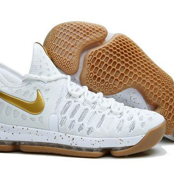 auguau Nike Men's Durant Zoom KD 9 Knit Mid-High Basketball Shoes White Golden 40-46