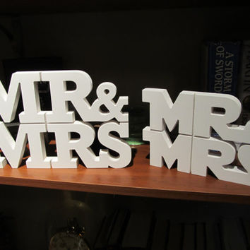 MR & MRS Wedding Table Centerpiece Topper 3D Custom CNC Art