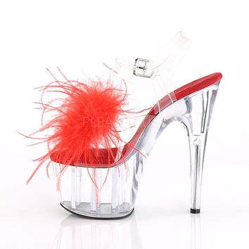 "Adore 708MF Clear Ankle Strap Upper Red Marabou Feather 7"" High Heels"