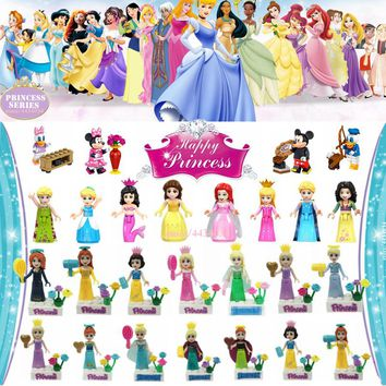 LEGOing Princess Elsa Ariel Snow White Belle Aurora Figures Toy Dress Beauty Girl Dream Legoings Friends Toys For Children Gifts