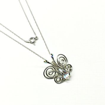Sterling Silver Wire Coiled Crystal Butterfly In Flight Necklace