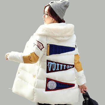 Winter Women Jacket Collar Pocket Long Coat Patch 2017 New Thickening Casual Slim Hooded Loose plus size XXXL Parka AE1574