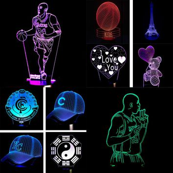 LED 3D Lamps With 10 Different Styles With Changeable Colors