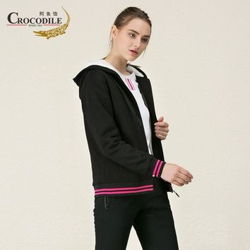 Crocosport Winter Women Fleece Jacket Femme Thermal Hooded Windbreaker Ladies Sport Suits for Women's Coat Sportwear Top Apparel