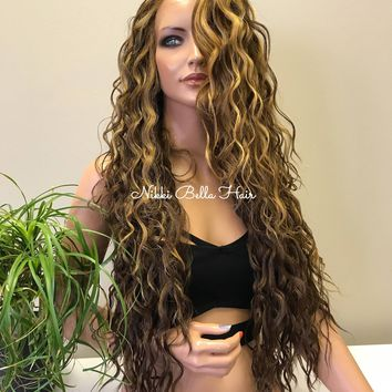 Honey Blonde Balayage Layered Blended Human Hair Lace Front Wig - Crystal