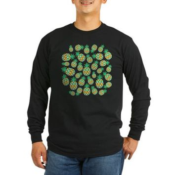 Pineapple Pastel Colors Pattern Long Sleeve Dark T-Shirt